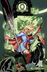 Supergirl, la prima de superman, derrotando a un supervillano alienigena